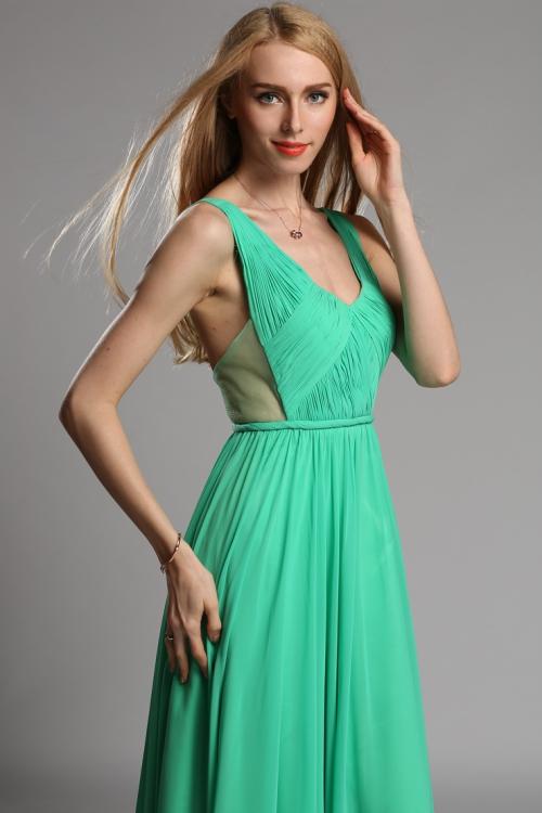 Green two straps open back dress