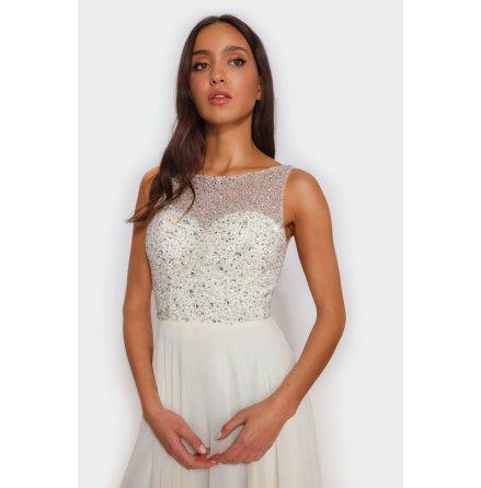 Star high neck v-back dress