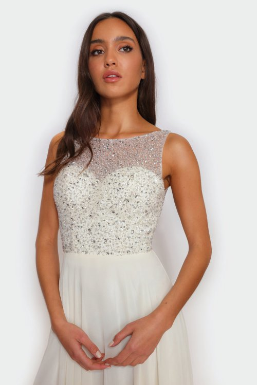 Star high neck v-back dress